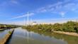Leinwandbild Motiv Neckar zwischen Altbach und Deizisau mit Kraftwerk