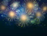 Fototapety Vector Holiday Fireworks Background