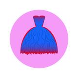 ikona modré šaty nebo kostým v kruhu znamení šaty pro svůj design