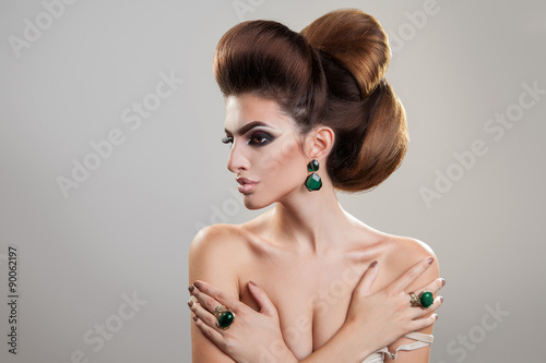 Aluminium Profile portrait of cute young girl with creative hairstyle