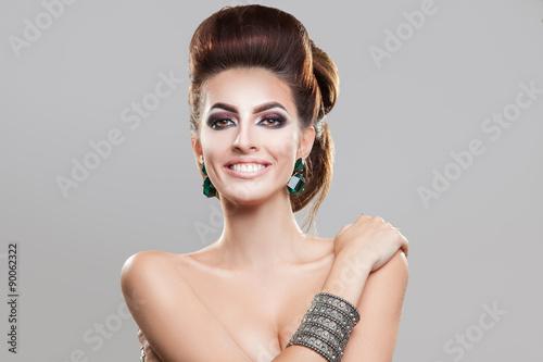 Aluminium Smiling Beautiful girl brown hair with an elegant hairstyle