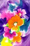 Naklejka 화려한 수채화 꽃 과 배경