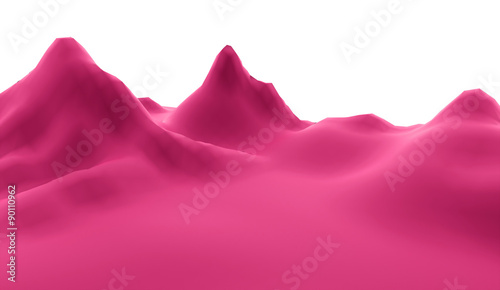 Foto op Plexiglas Roze Mountain abstract rendered on white background