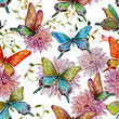 retro seamless texture with of flying butterflies. watercolor pa