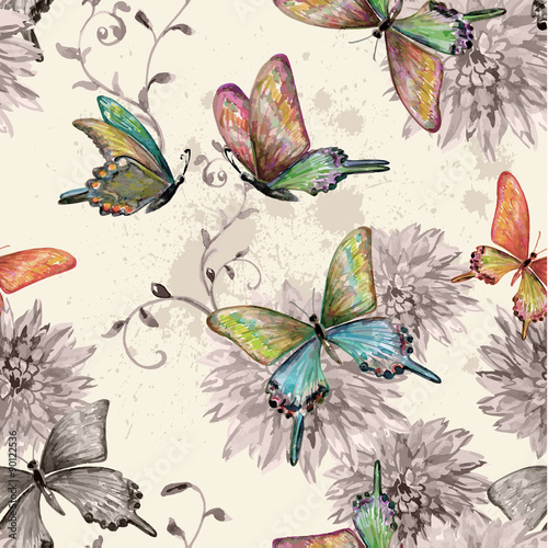 Poster Vlinders in Grunge vintage seamless texture with of flying butterflies. watercolor