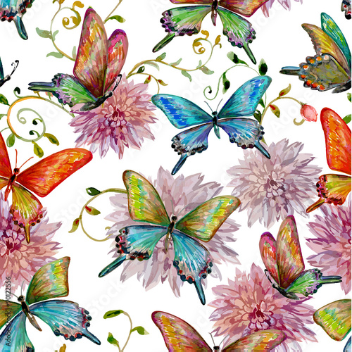 Keuken foto achterwand Vlinders in Grunge retro seamless texture with of flying butterflies. watercolor pa