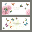 collection invitation cards with butterflies. watercolor paintin