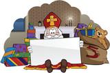 Sinterklaas zittend met blanco kaart.