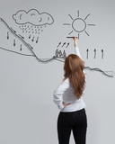 Woman drawing schematic representation of the water cycle in poster