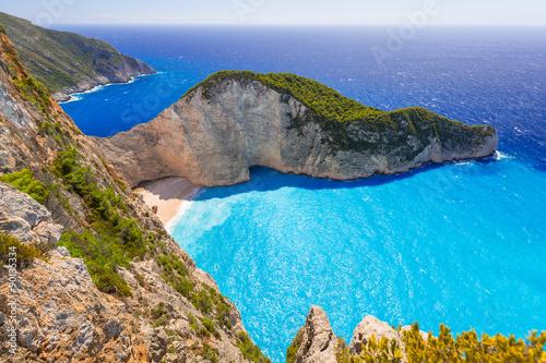 Beautiful Navagio Beach (Shipwreck beach) on Zakynthos Island, Greece © Patryk Kosmider