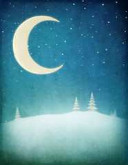 Pastel winter night background with  moon and  snowy landscape