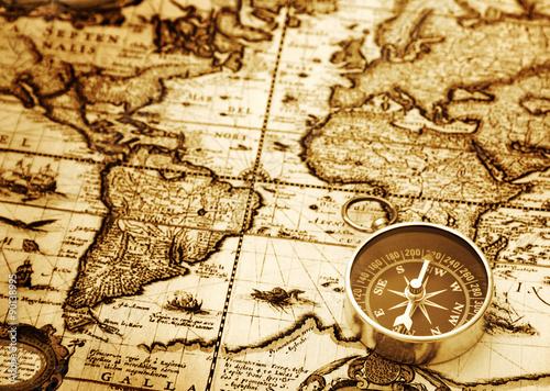 Fototapety, obrazy : Compass on vintage map