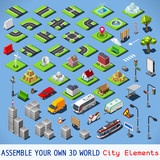 Fototapety Isometric city Vector Building 3D Map