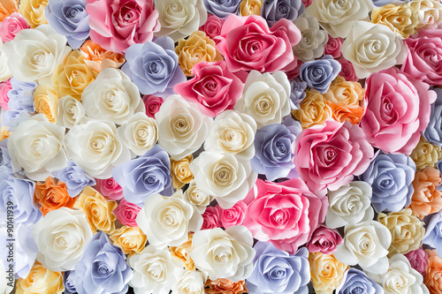 Poster, Tablou Backdrop of colorful paper roses