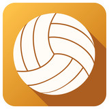 Sport icon with volleyball ball in flat style. Vector