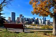 View from a park overlooking the skyline of Calgary, Alberta during autumn