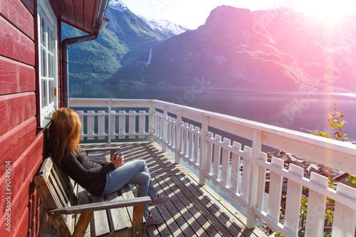 Foto op Plexiglas Lichtroze Norwegian landscape