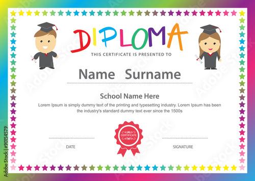 Preschool kids elementary school diploma certificate design back