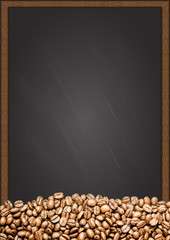 Coffee beans with chalkboard background