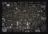 Fototapety Hand drawn science formulas on chalkboard for background