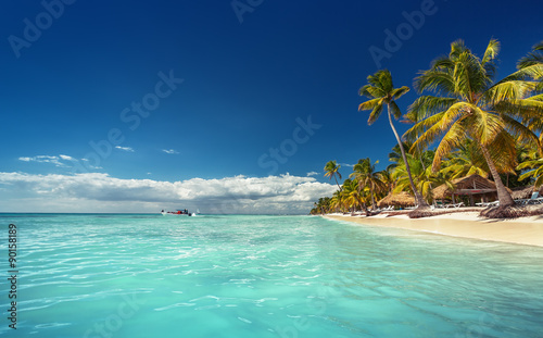 Landscape of paradise tropical island beach