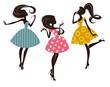 Постер, плакат: Три девушки в стиле ретро