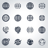 Vector black globe icon set