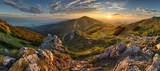 Fototapety Panorama rocky mountain at sunset in Slovakia