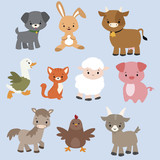 A set of cute cartoon farm animals