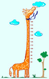 Kids height scale in giraffe vector illustration