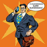 Fototapety super businessman answering phone call