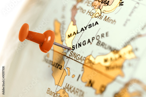 Location Singapore. Red pin on the map. Obraz na płótnie
