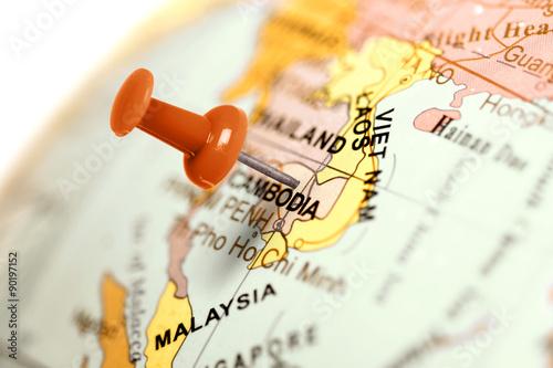 Location Cambodia. Red pin on the map. Obraz na płótnie