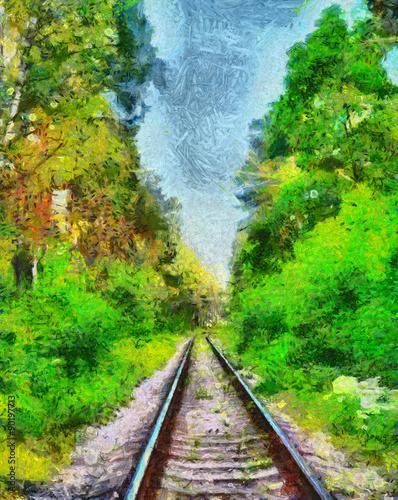 kolej-wsrod-zieleni-lata-lasowego-obrazu-olejnego