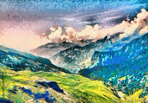 Panel Szklany Bright green morning at Himalaya mountains oil paintings