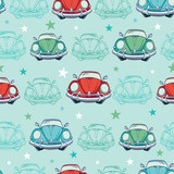Vector Colorful Vintage Cars Seamless Pattern. Funny Headlights