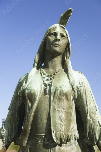 Pocahontas Statue, by William Ordway Partridge, erected in 1922, representing Pocahontas the favorite daughter of Powhatan, who ruled the Powhatan Confederacy Poster
