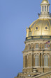 Iowa State Capital with close-up of golden dome, Des Moines, Iowa