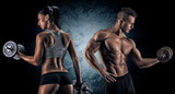 Fototapety Athletic man and woman with a dumbells.