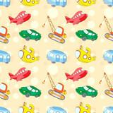 Seamless texture with transport: submarine, car, bus, aircraft a