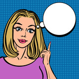 Fototapety Illustration of woman with the speech bubble. Pop Art poster.