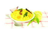 potato Poha or batata pova puffed Beaten Rice Indian breakfast dish