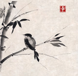 Bamboo and bird. Hand-drawn with ink.