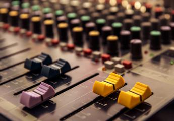 Sound mixer control panel, audio controls