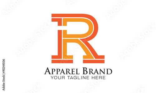 R - Apparel Brand - Logo Letter Vector - exclusive Striped Design ...