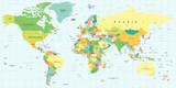 Mapa świata - bardzo szczegółowe ilustracji wektorowych.