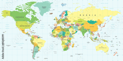 Juliste World Map - highly detailed vector illustration.