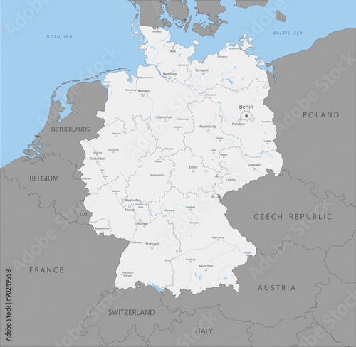 Highly detailed map of Germany regions, vector.  Poster
