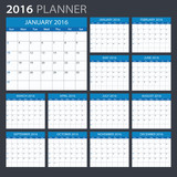 2016 Planner - illustration. Vector template of 2016 calendar/planner.