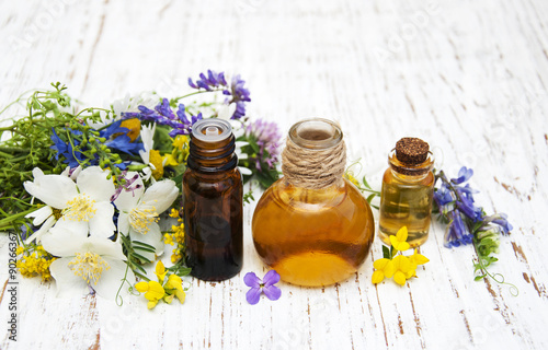 Nature oil with wildflowers Poster
